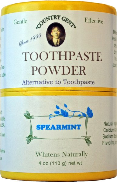 """""""Country Gent"""" Tooth Powder, Spearmint 4 oz Compostable Packaging"""