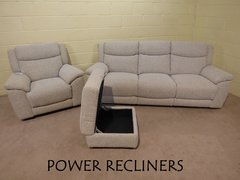 'BOUNCE' 3 SEATER & ARMCHAIR POWER RECLINERS PLUS FOOTSTOOL