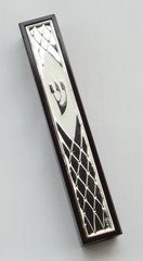Large Red Wood And Silver Mezuzah Case 5.75 Inches L X 1 Inches W  SELF ADHESIVE - SCROLL SOLD SEPARATELY