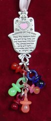 Wall Hanging Chamsah Blessing For Girl Pewter With Pacifiers Chamsah 2.75 Inches X 3 Inches Long With Pacifiers Full Length Is 6 Inches