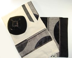Talit Set Raw Silk White/Black/Gold 22 Inches X 80 Inches  Eretz Design - Made In Israel