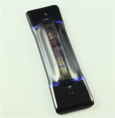 Abstract Black/Color Glass Mezuzah 5.25 Inches L X 1.5 Inches W By Tamara Baskin - SCROLL SOLD SEPARATELY