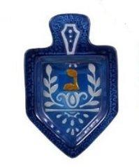 Dreidel Glass Plate Blue w/Hebrew Gold letter representing a Dreidel