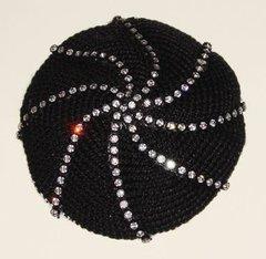 Kippah Crochet Black or White with Swarosky Design
