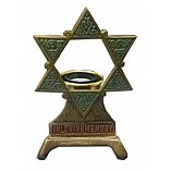 Electrical Memorial Lamp Brass with Star of David in Color - Bulb Included