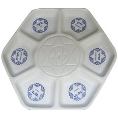 Traditional Hexagon Ceramic Passover Seder Plate