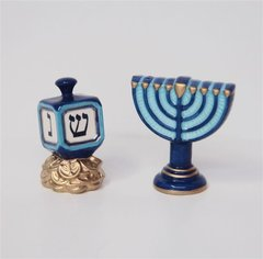 Salt And Pepper - Menorah And Dreidel Shapes - Shakers 3 Inches H