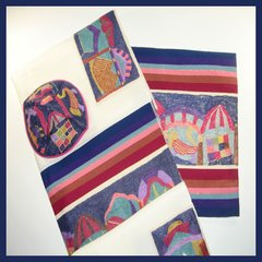 Talit Set Hand Woven Silk Tribes Embroidered 20 Inches X 72 Inches (Talit/Bag & Kippah) Made In Israel