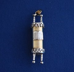 """Charm Torah With Tablets Shiny Finish 14 Kt Yellow And White Gold,  1-1/4"""" L X 1/4"""" W - 24"""" - 14 Kt Chain Sold Separately"""