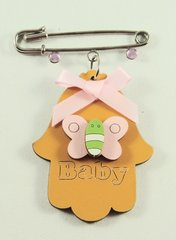 Baby Pin Chamsah Wood Assorted Colors And Designs 2.5 Inches X 2 Inches