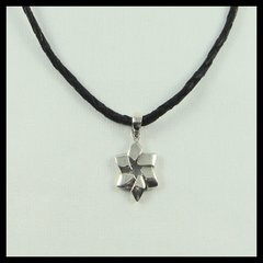 "Necklace Star Of David 3/4"" Long Sterling Silver With Black Leather Rope"