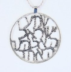 "Sterling Silver Charm Large ""Shema Israel"" 1.75"" Diameter w/ Chain Rope 18"" Long"