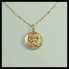 "Charm Menorah Medallion 3/4"" Diam, 14 Kt Gold,  16"" Or 20"" - 14 Kt Chain Sold Separately"