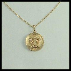 """Charm Menorah Medallion 3/4"""" Diam, 14 Kt Gold, 16"""" Or 20"""" - 14 Kt Chain Sold Separately"""