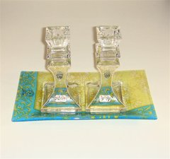 Candleholder Crystal With Tray, Teal/Yellow With Pewter Chamsah Design,  6 Inches Tall - Base 3 Inches Square - Hand Made In Israel  Matching Challah Plate Available!