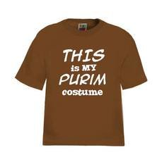 """This Is My Purim Costume"" T-Shirt, Available In Black or Red W/White Lettering - Call Or Email Us With Color Choice And Size"