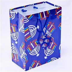 Hanukkah Gift Bag - Menorahs Design w/Card - Size : 7 x 4 x 9