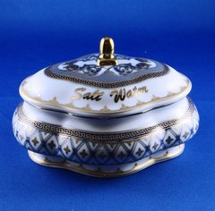 Salt Water Dish Porcelain White With Blue And Gold Trim 4.75 Inches X 3.375 Inches X 2 Inches H