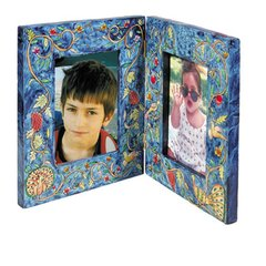 Peacock Double Wooden Hand Painted Picture Frame By Yair Emanuel Holds 2 Photos Size 4 Inches X 6 Inches