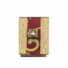 Match Box Small Metal Base W/Acrylic Gold & Garnet Top W/Pomegranate In Brass, Size: 2.25 Inches X 1 5/8 Inches X 5/8 Inches H, Made In Israel