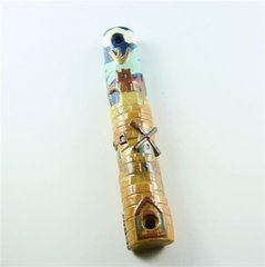 Mezuzah Case Ceramic Jerusalem 5.5 Inches X 1 Inches    SCROLL SOLD SEPARATELY