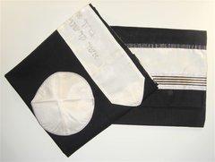 "Talit Set Wool Black/Cream 22"" X 72"" Made In Israel"