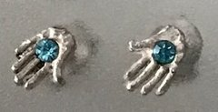 Earrings Stud Chamsah Sterling Silver w/Aqua Stone