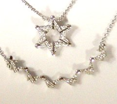 "Necklace Star / Butterfly Sterling Silver/Cubic Zirconia, The ""Marranos"" Star"