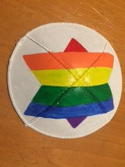 KIppah Suede Handpainted Rainbow -Heart or Star