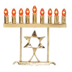 """Electric Menorah Brass """"Star of David"""" includes pack of 9 Bulbs"""