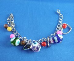 Bracelets Silver Finish With Eyes And Colored Beads