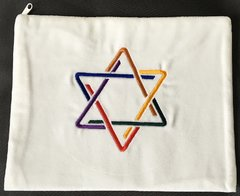 "Talit Bag White Velvet with Star of David Embroidered in Colors - Size:12"" x 9.5"""