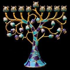 "Menorah Jeweled 6.5"" - Color: Blue/Purple"