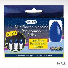 ELECTRIC MENORAH REPLACEMENT BULBS, BLUE, 3/BOX