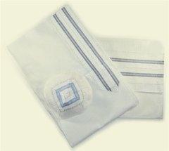 Talit Set Silk White/Blue/Silver 22 Inches X 72' Gabrieli Design - Made In Israel