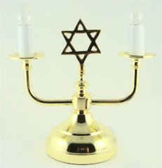 Candleholder Electric Gold Tone With Bulbs Included  7 Inches H X 8 Inches W X 4.25 Inches Diam Base
