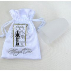 Wedding Mini Bag Embroidered White W/Chupah/Couple And Mazal Tov And Frosted White Glass Included
