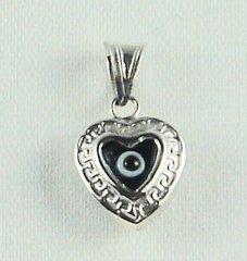 "Charm Blue Eye ""Heart"" Sterling Silver - Approx 1/2"""
