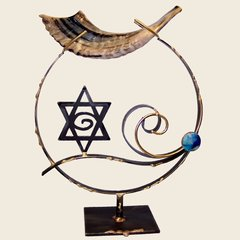 Shofar Stand Large Copper And Stained Glass 15 Inches Ht,  Shofar Not Included, By Rosenthal Collection