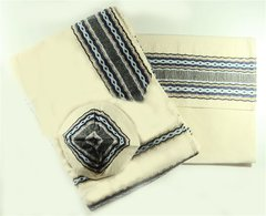 Talit Set Cotton Cream/Royal/Gold 20 Inches X 72 Inches  Gabrieli Design - Made In Israel