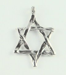 Charm Star of David Large Free form Sterling Silver