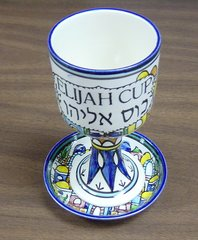Elijah Cup w/Matching Coaster Armenian Jerusalem Design - Made in Israel