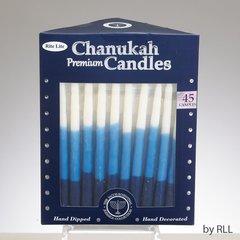 PREMIUM CHANUKAH CANDLES, BLUE/WHITE TRI-COLOR, 45/GIFT BOX