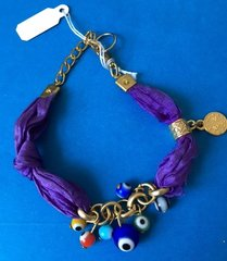 Bracelet Gold Plated Colored Ribbons With Eyes Available In Pink, Purple And Burgundy