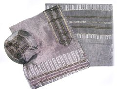 Talit Set Silk Gray/Green/Red or Gray/Black/Gold - Size:20 Inches X 72 Inches - Hand Made By Gabrieli - Made In Israel