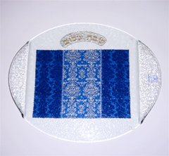 Challah Tray Glass With Blue Decor 13.5 Inches L X 12 Inches W  Handmade In Israel