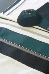 """Talit Set Black/Teal - Size: 20"""" x 80"""" - Made in Israel by Eretz Fashionable Judaica"""