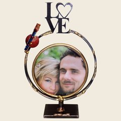 Small Circular Frame with LOVE and Shards Tube by The Gary Rosenthal Collection