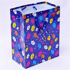 Hanukkah Gift Bag -Colorful Dreidels Design w/Card - Size : 7 x 4 x 9