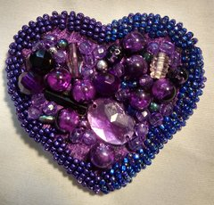 Jeweled Beaded Heart Pin
